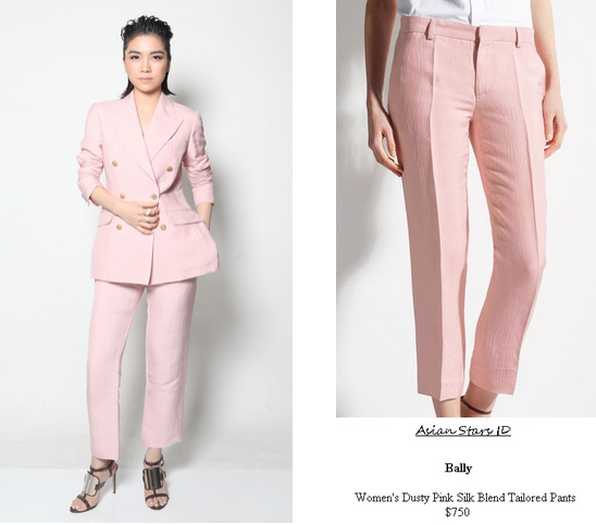 Star Awards 2015 - Sora Ma: Bally Women's Dusty Pink Silk Blend Tailored Pants $750