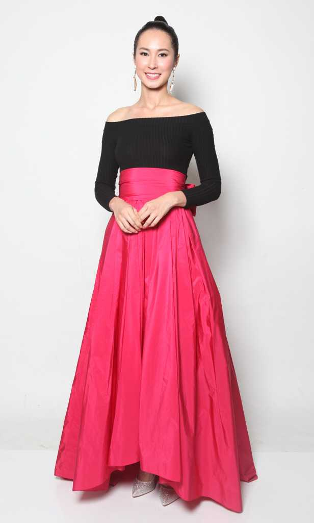 Star Awards 2015 - Paige Chua: Max Mara Hot Pink Taffeta Skirt