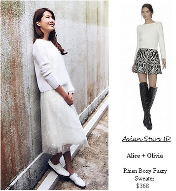 Sealed With A Kiss Road Show - Carrie Wong: Alice + Olivia Rhian Boxy Fuzzy Sweater $368