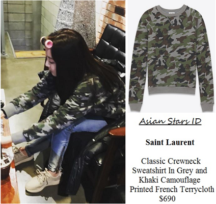 Instagram - Dara (2NE1): Saint Laurent Classic Crewneck Sweatshirt In Grey and Khaki Camouflage Printed French Terrycloth $690