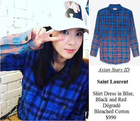 Instagram - Dara (2NE1): Saint Laurent Shirt Dress in Blue, Black and Red Dégradé Bleached Cotton $990