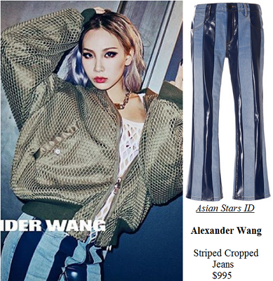 Alexander Wang SS16 Campaign - CL (2NE1): Alexander Wang Striped Cropped Jeans $995