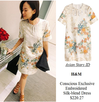 Instagram - Felicia Chin: H&M Conscious Exclusive Embroidered Silk-blend Dress $220.27
